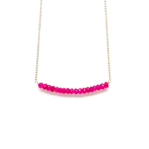 Beaded Bar Necklace // Hot Pink Chalcedony