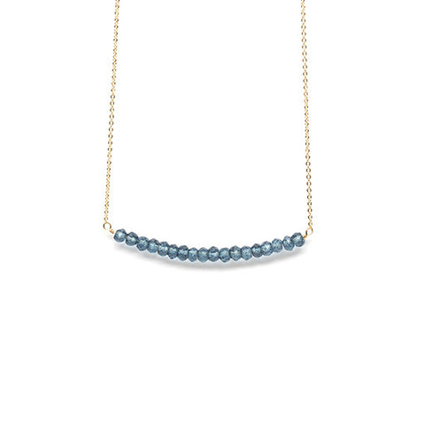 Beaded Bar Necklace // Blue Quartz