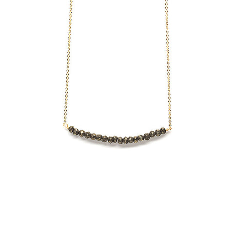 Beaded Bar Necklace // Natural Pyrite