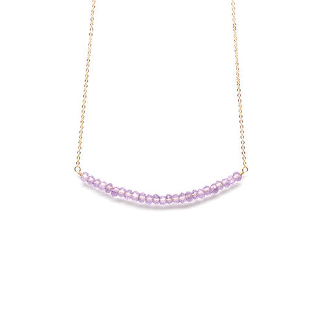 Beaded Bar Necklace // Pink Amethyst