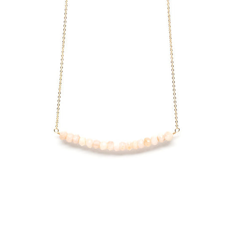 Beaded Bar Necklace // Pink Peruvian Opal