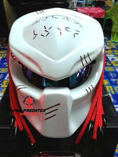 T06 Custom Predator Motorcycle Dot Approved Helmet White