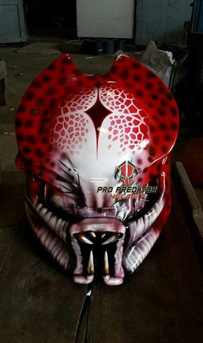 SY17 Custom Predator Motorcycle Dot Approved,ECE Helmet Airbrush sweet Red