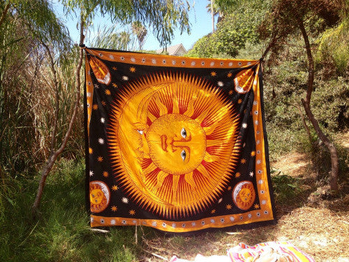 Colorful Tapestry Psychedelic Celestial Indian Sun Bohemian  Tapestry