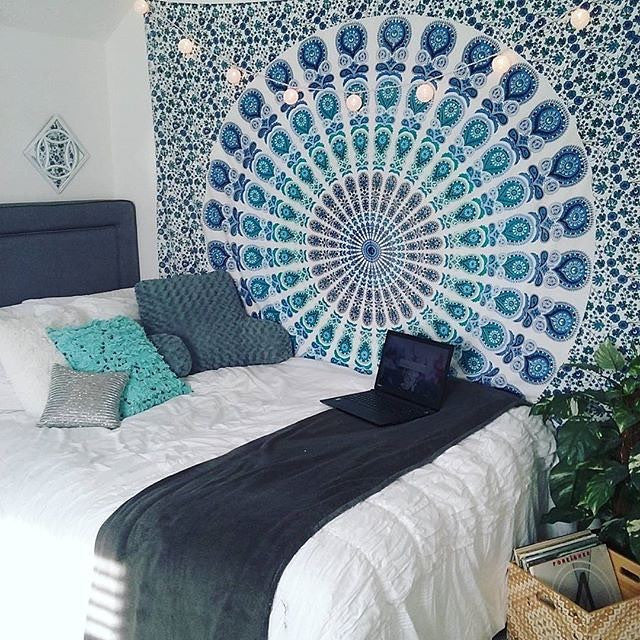 Peacock Tapestry Blue Beautiful Indian Mandala Tapestry (Hippie, Wall Hanging, Beach, Bedspread ) (130cmx150cm,  153cmx203cm)