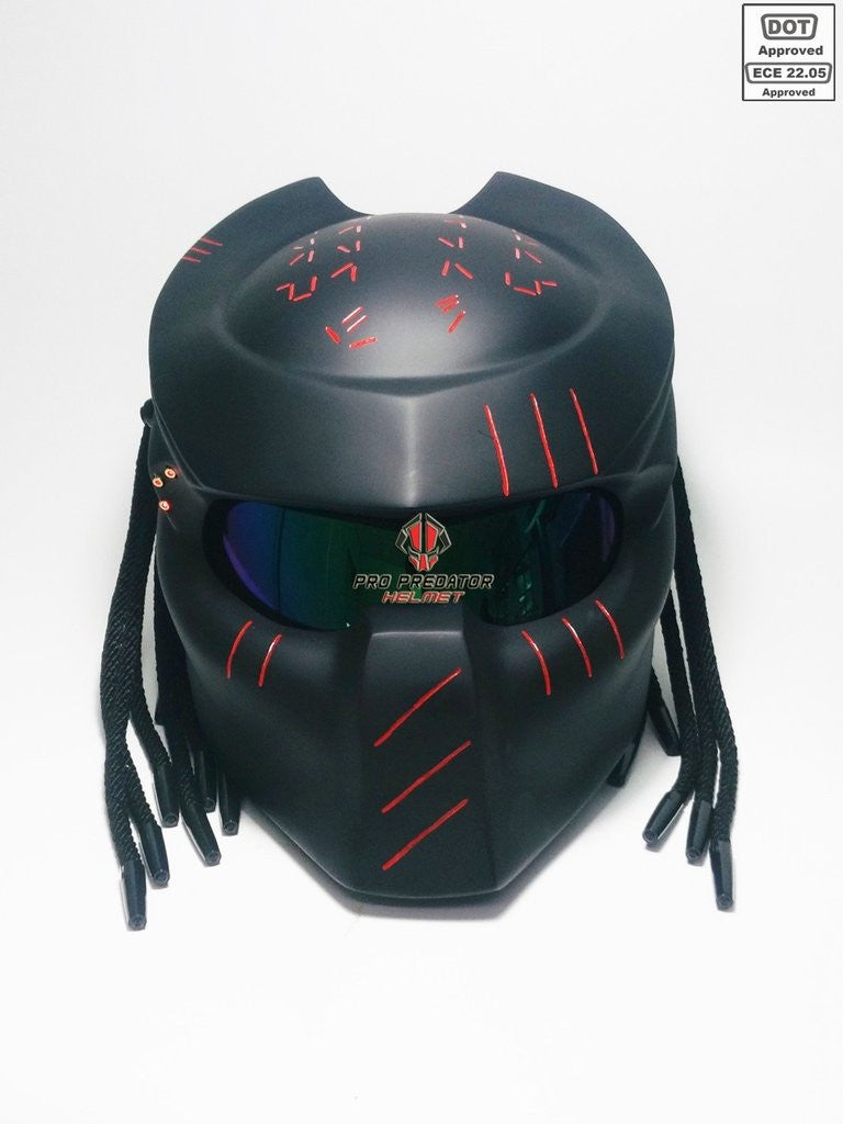 Predator Motorcycle Dot Approved Helmet matt black