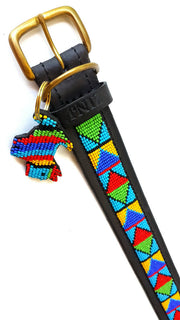Hand Made Beaded Leather Dog Collar - SAMBURU BLUE - ShopNowBeforeYouDie.com