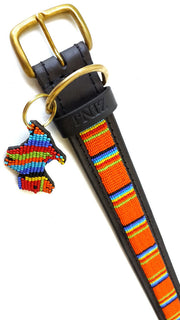 Hand Made Beaded Leather Dog Collar - GIRIAMA ORANGE - ShopNowBeforeYouDie.com