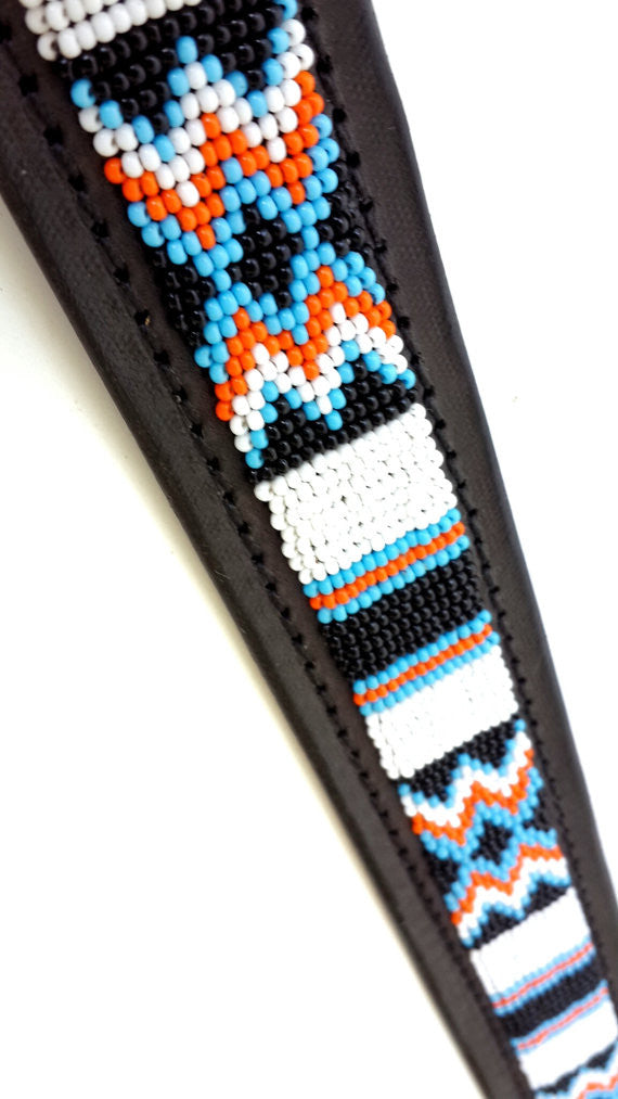 Hand Made Beaded Leather Dog Collar - PUEBLO BLACK - ShopNowBeforeYouDie.com