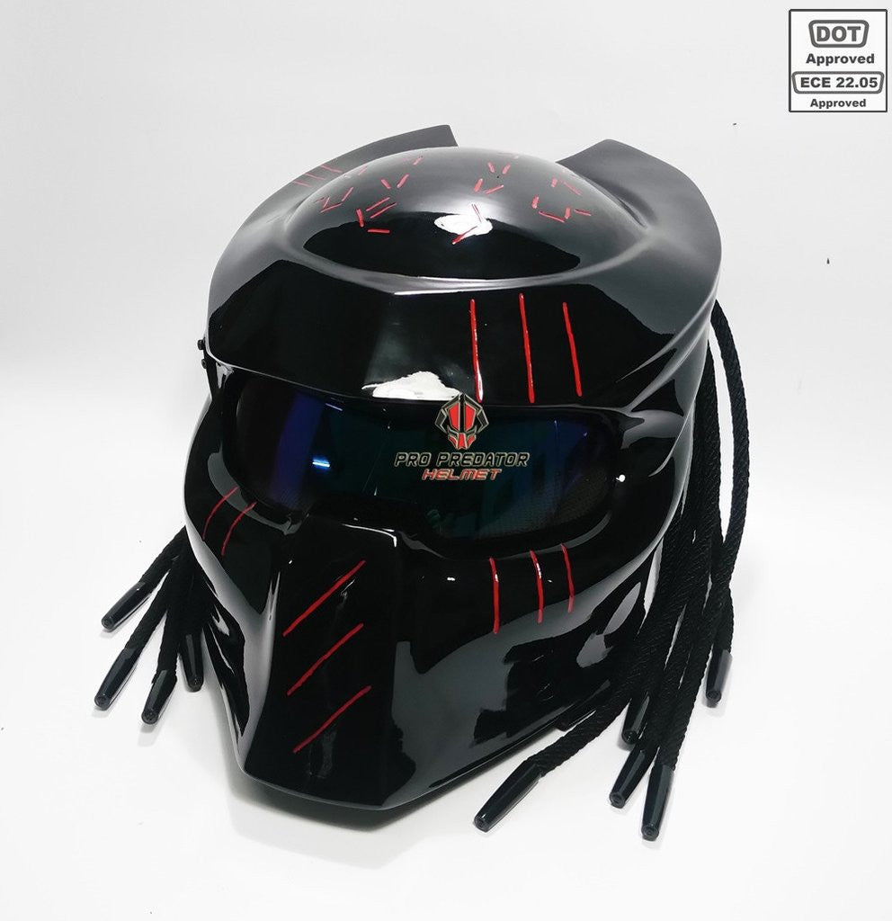6623f22c SY27 Custom Predator Motorcycle Dot Approved,ECE Helmet Shine Black –  ShopNowBeforeYouDie.com