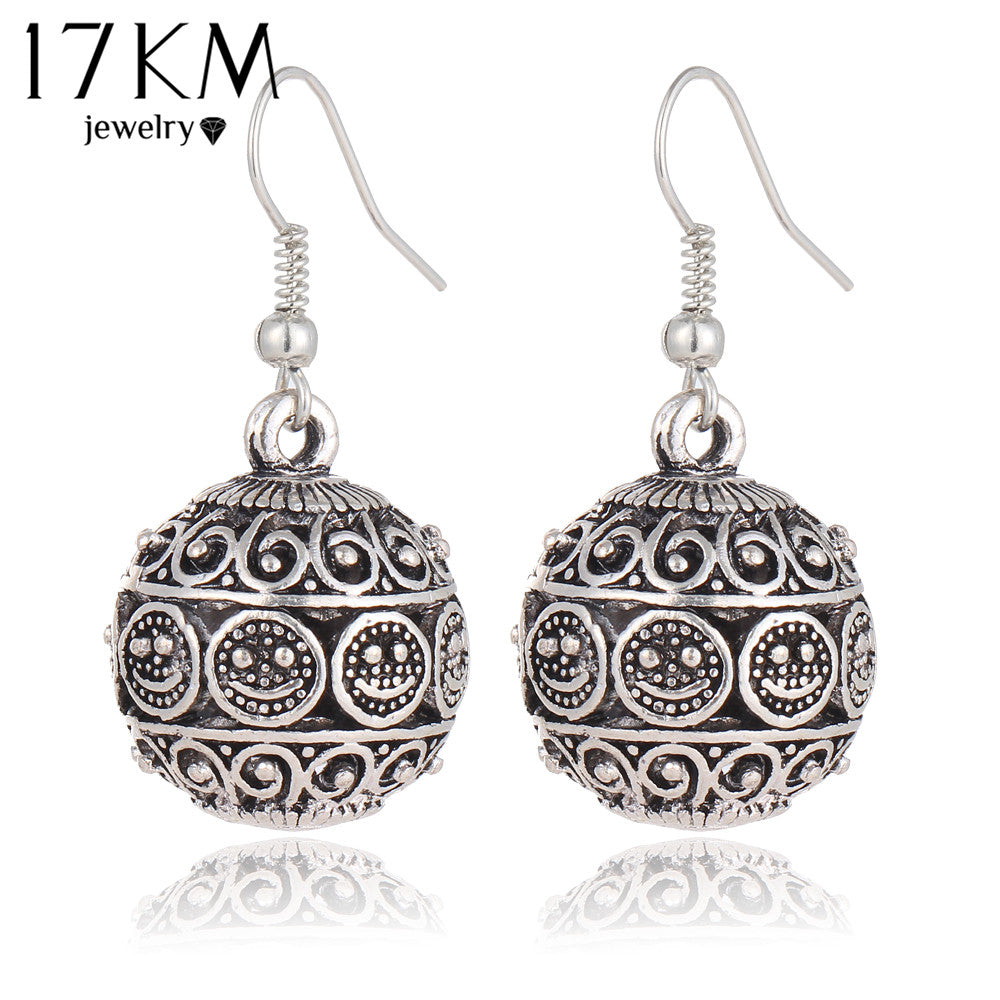 17KM Branbd New Bohemia Long Pendant Ball Drop Earrings for Women Stone Bead Tibetan Punk Earrings Pendiente Earrings