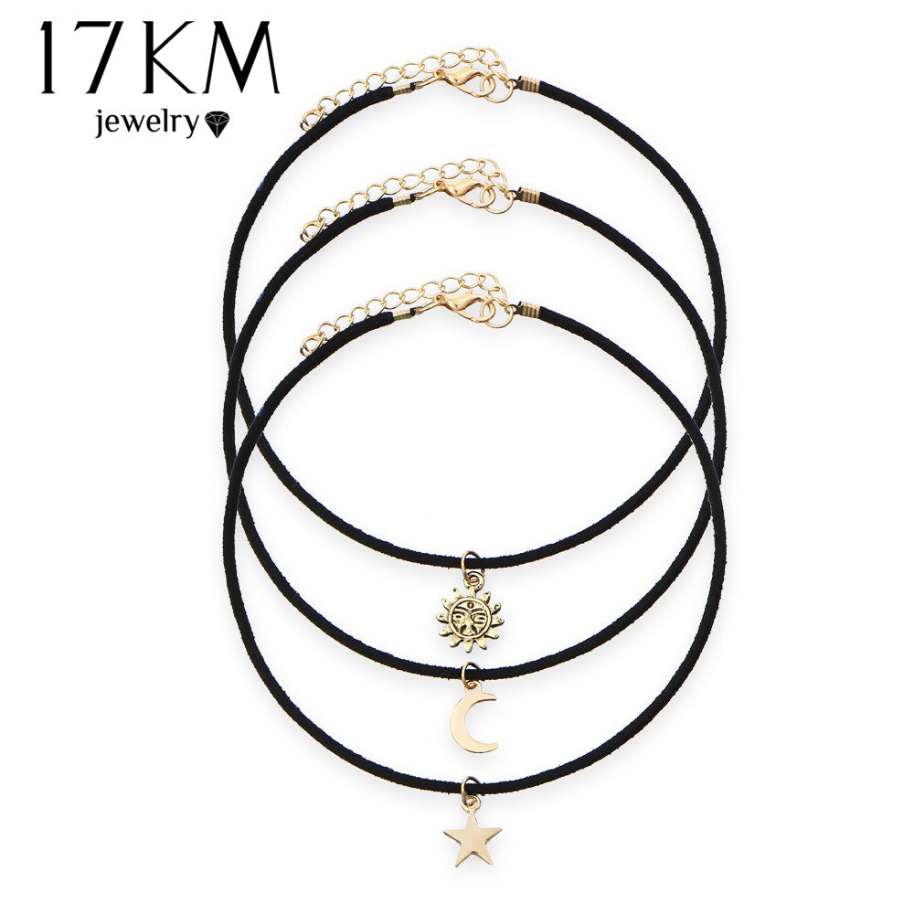 17KM New Star Moon Sun Chokers 3 Pcs Sets Necklaces Alloy Pendants Maxi Necklaces For Love Choker Women Jewelry Accessories