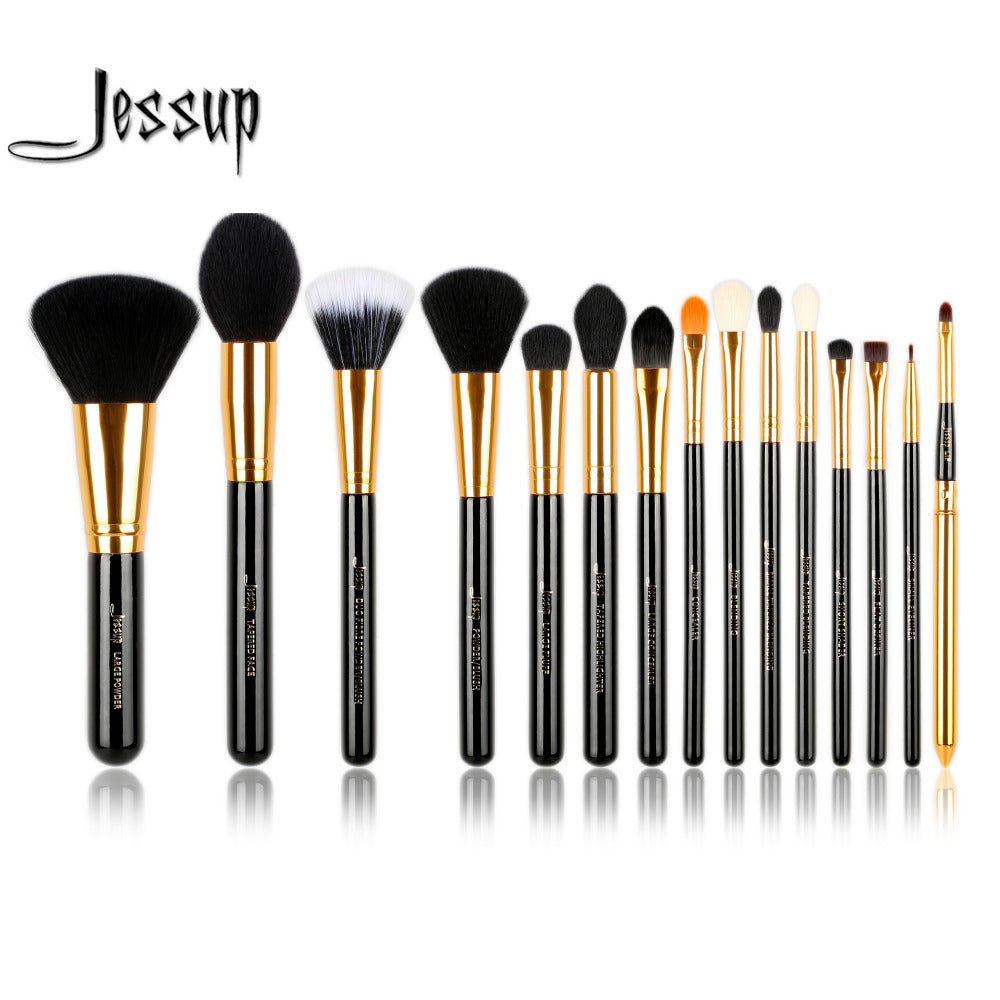 Jessup Pro 15pcs Makeup Brushes Set Powder Foundation Eyeshadow Eyeliner Lip Brush Tool Black and Gold