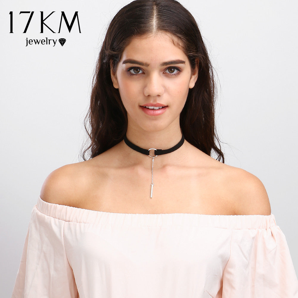 17KM Vintage Velvet Chokers 4 Color Fashion Accessories Silver Color Punk Leather Round Choker Necklace for Couple Lovers