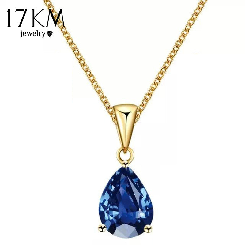 17KM Buy one Get one Free/ Fashion Crystal Water Drop Necklace for Women 7 Colors Wedding Statement Jewelry Maxi Punk Choker