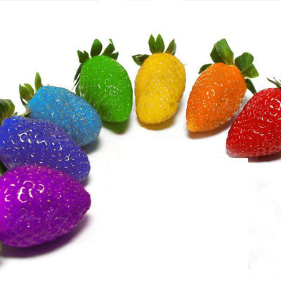 50 PCS Rainbow Strawberry Fruit Seeds Multicolor Rainbow Strawberry Fruit Seeds Courtyard and Garden Green Fruits and Vegetables - ShopNowBeforeYouDie.com