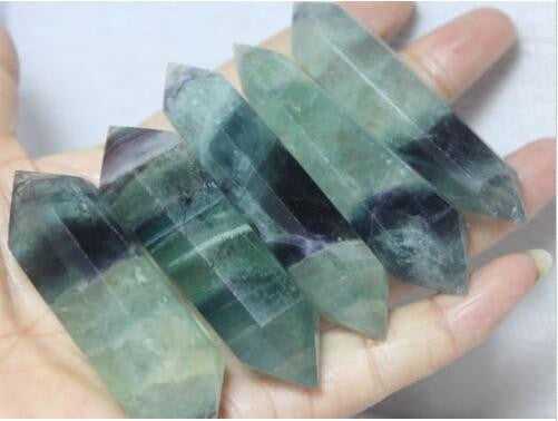 5 pieces natural quartz flourite crystal healing wands crystal point for gifts