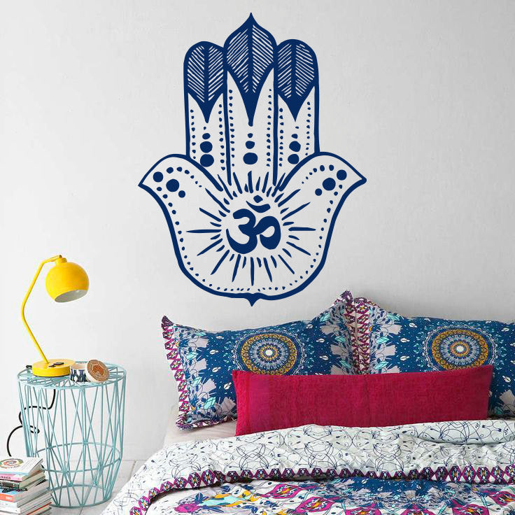 Wall Decal Hamsa KhamsaNamaste Yoga Hand Wall Sticker Fatima Buddha Meditation Bohemian Vinyl Sticker Home Decor Mural H-10