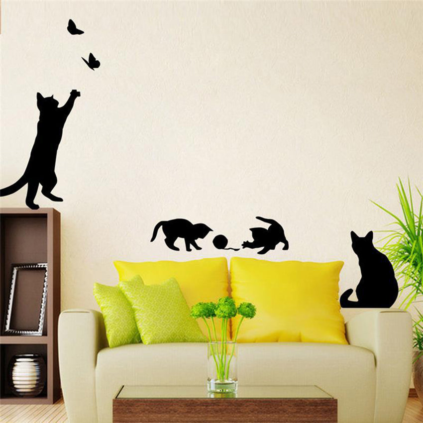 1pcs Hot Wall Sticker Cats Play Butterfly Decorative Bedroom Kitchen Wall Originality Cartoon Children Home Decoration