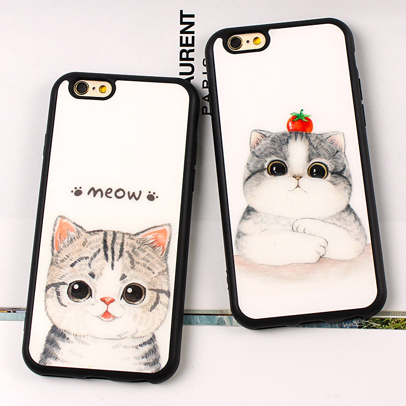 New Fashion Super Cute Cartoon Soft Silicon Cat Cherry cat mirror Case Cover For iphone 7 6 6S 4.7 6 6s plus 5.5 inch SE 5 5S