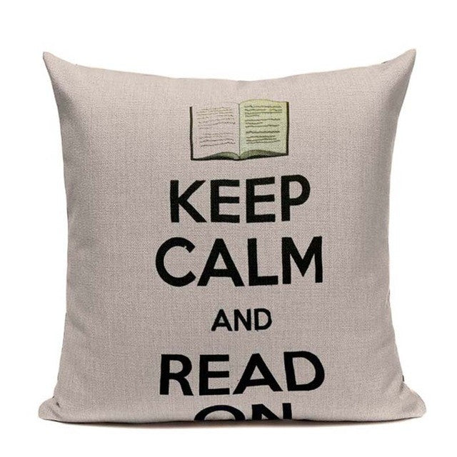 Cat Happy Reading More Book Cushion Cover Customized Linen Cotton Pillowcase  Home Sofa  Decorative Cotton Throw Decor Cojines