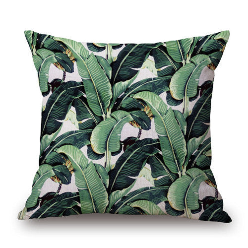 Fashion High Quality Cotton Linen Africa Tropical Plant Banana Leaf  Decorative Throw Pillow Case Cushion Cover Sofa Home Decor