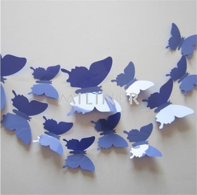Free shipping 12pcs PVC 3d Butterfly wall decor cute Butterflies wall stickers art Decals home Decoration
