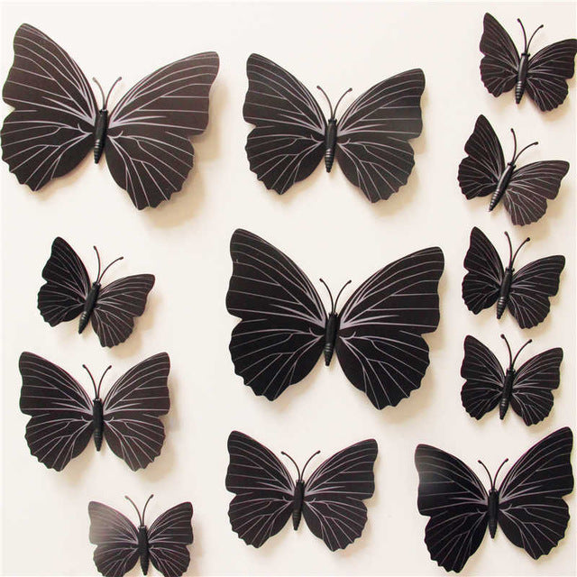 12 Pcs/Lot PVC 3D DIY Butterfly Wall Stickers Home Decor Poster for Kitchen Bathroom Fridge Adhesive to Wall Decals Decoration