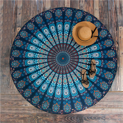 Round Hippie Mandala Peacock Flower Indian Tapestry Wall Hanging Bohemian Beach Towel Polyester Thin Blanket Yoga Shawl Mat 150x