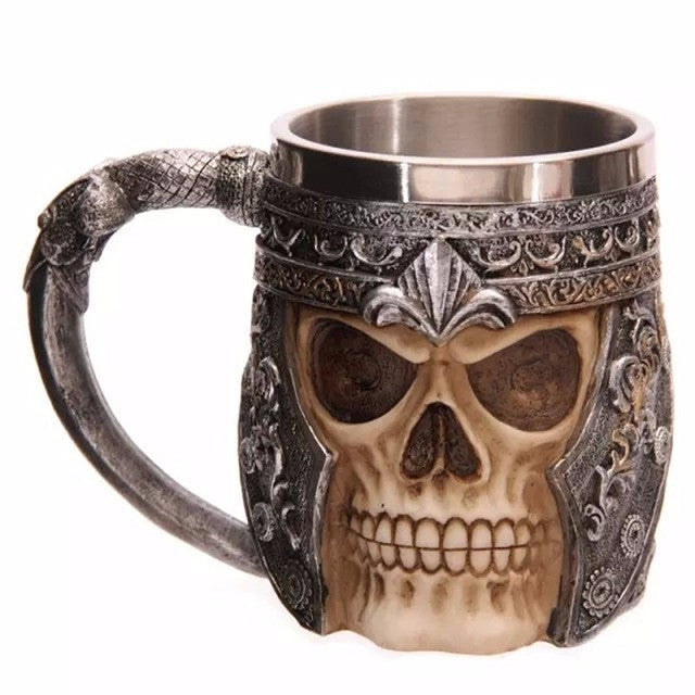 Personalized Double Wall Stainless Steel 3D Skull Mugs Coffee Tea Bottle Mug Skull Knight Tankard Dragon Drinking Cups Kup  Milk