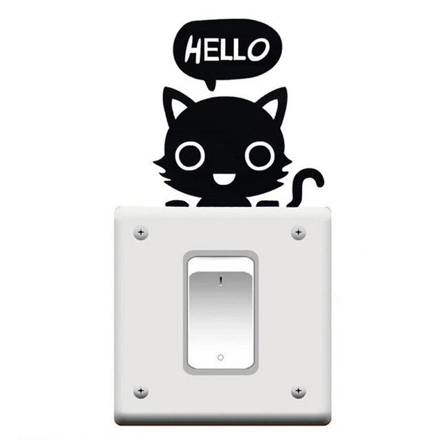 Hot 9 Styles DIY Funny Cute Cat Animal Switch Stickers Wall Stickers Home Decoration Bedroom Parlor Decoration Free Shipping