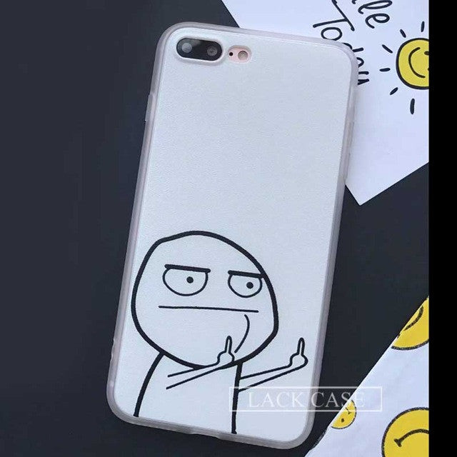 Funny Cartoon Middle Finger Case For iphone 7 Case For iphone7 6 6S Plus 5 5S Back Cover Classic Black Painting Phone Cases Capa