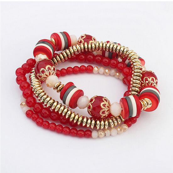 17KM Bohemia Beach Style Brand Jewelry multi layers Bracelet Alloy Color Acrylic Beads Rope Chain Bracelets For Women pulseira