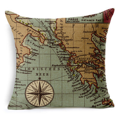 Nautical Anchor Sailor Sailing Map Cotton Cushion Sofa Piaochuang Pad Home Decoration Pillow Cover Cushion Cover