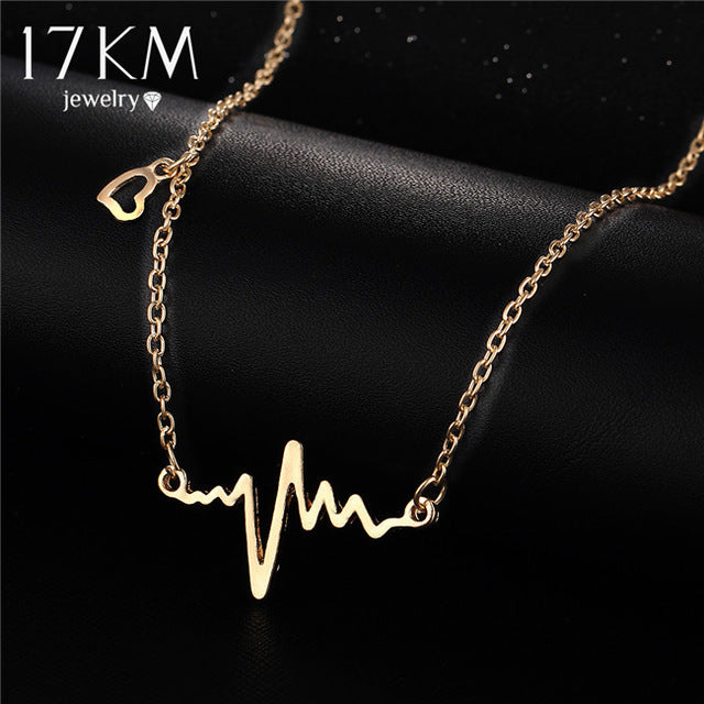 17KM Simple Wave Heart Necklaces & Pendants Gold Color Heartbeat Maxi Steampunk collares Vintage Lightning Necklace