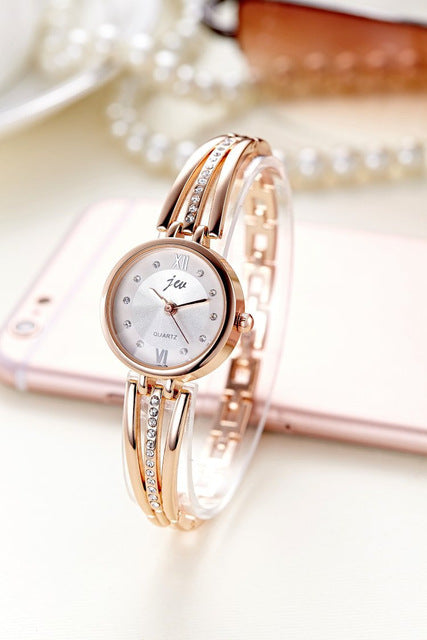 New Fashion 2017 Luxury Rhinestone Watches Women Stainless Steel Quartz Bracelet Watch Ladies Dress Watches Gold Clock relogios