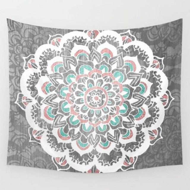 Mandala Tapestry 200CM Polyester Wall Tapestry Indian Elephant Tapestry Lotus Yoga Mat Home Decor Carpet toalla mandalas playa