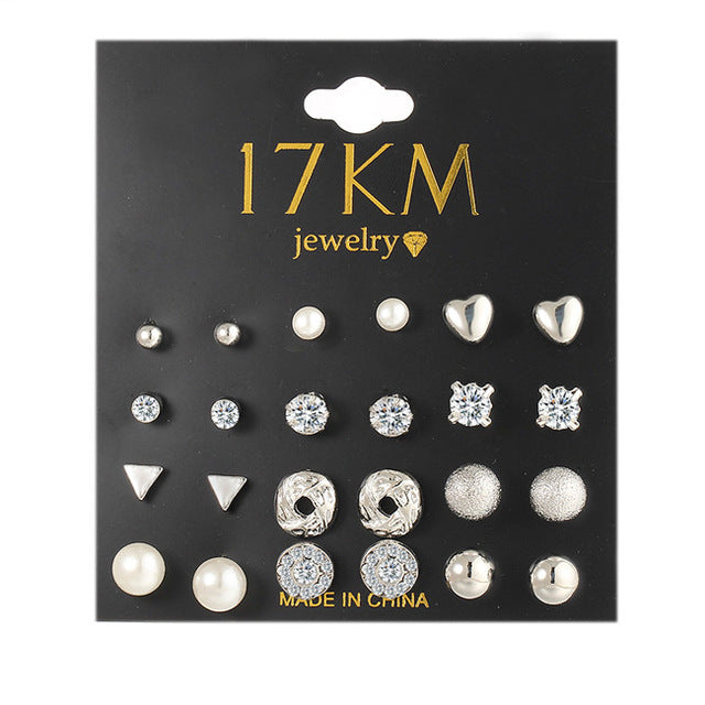17KM Fashion 12 pair/set Trendy Style Women Square Crystal Heart Stud Earrings for Women Piercing Simulated Pearl Flower Earring