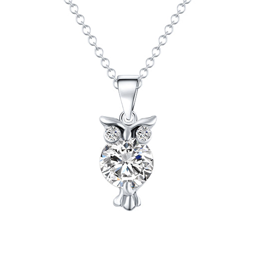 17KM Hot Sale Cute Gold Color Chain Necklace Crystal Zircon Lovely Owl Pendants Necklace Fashion Jewelry For Women joyas CS13