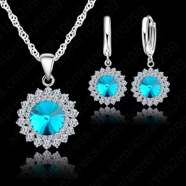 Newest Wedding Jewelry Set 925 Pure Silver Crystal Necklace Pendant/Earrings Trendy  Women Jewelry Set