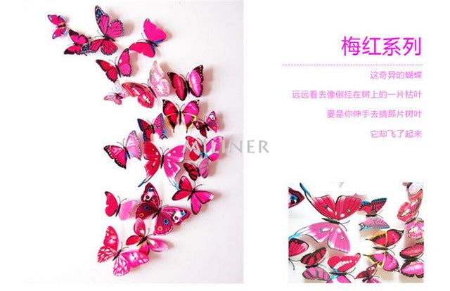 12 pcs/set DIY 3D Butterfly wall stickers home decor for living room,bedroom,kitchen,toilet,and Festive wedding decoration
