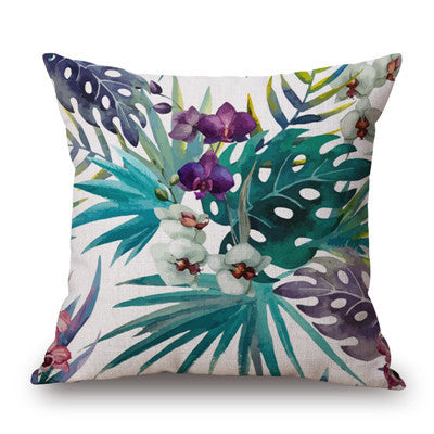 Fashion High Quality Cotton Linen Tropical plant Flowers Grass  Decorative Throw Pillow Case Cushion Cover Sofa Home Decor