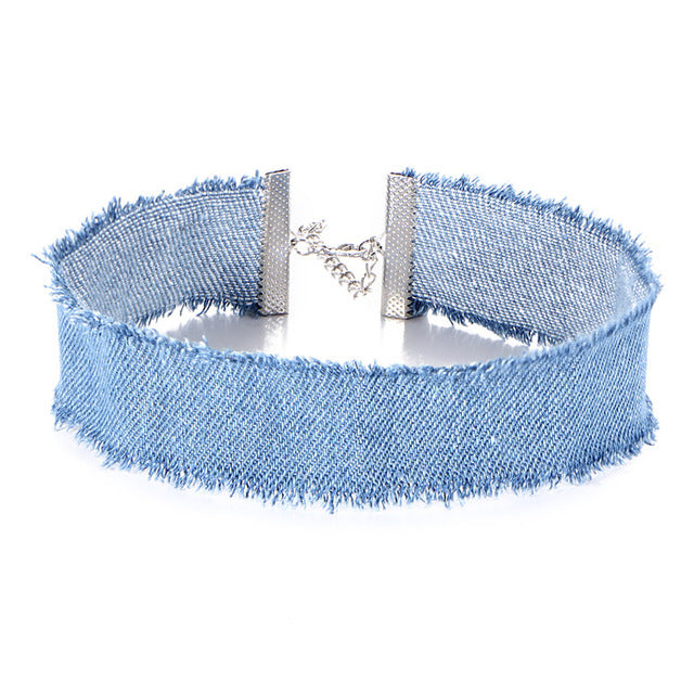 17KM New Tassel Blue Denim Choker Necklace for Women Vintage Punk Distressed Jeans Tattoo Chokers Collier bojoux femme
