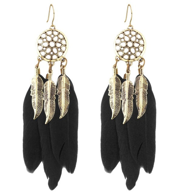 17KM Vintage Men Women Dream Catcher Long Feather Drop Earrings Retro Tibetan Earrings Pendiente Women Earrings Gift bijoux