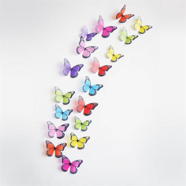 18Pcs Black and white crystal butterfly 3D Wall Stickers PVC Birthday Cake Home Decor Art DIY Christmas Wedding decorations