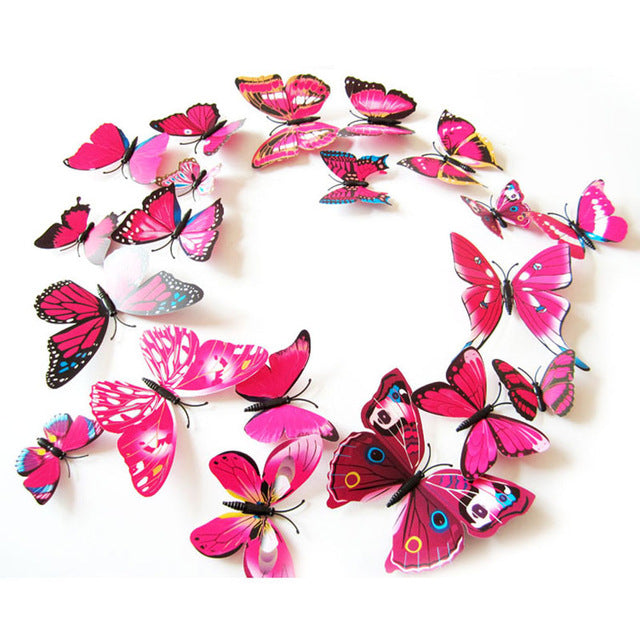 12PCS 3D Wall Stickers PVC Magnet Butterfly Wall Sticker for Wedding Party Decoration Kitchen Aticker on the Fridge