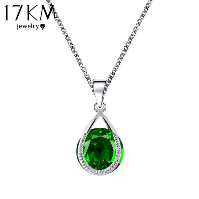 17KM Valentine's Gift Austrian Crystal Water Drop Necklaces & Pendants Gold Color Silver Color collares Maxi Necklaces for Women