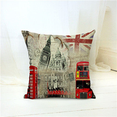 New British Style London Home Decorative Sofa Cushion Cover Throw Pillow Case Vintage Cotton Linen Square Cute