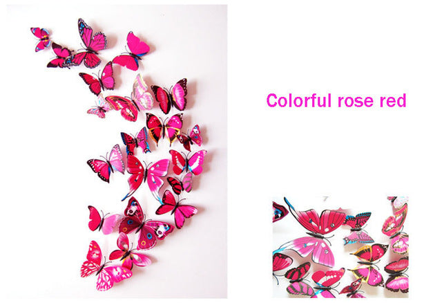 12pcs/lot 3D PVC Wall Stickers Butterflies DIY Wall Sticker Home Decor Poster Kids Rooms Party Celebration Wall Decoration