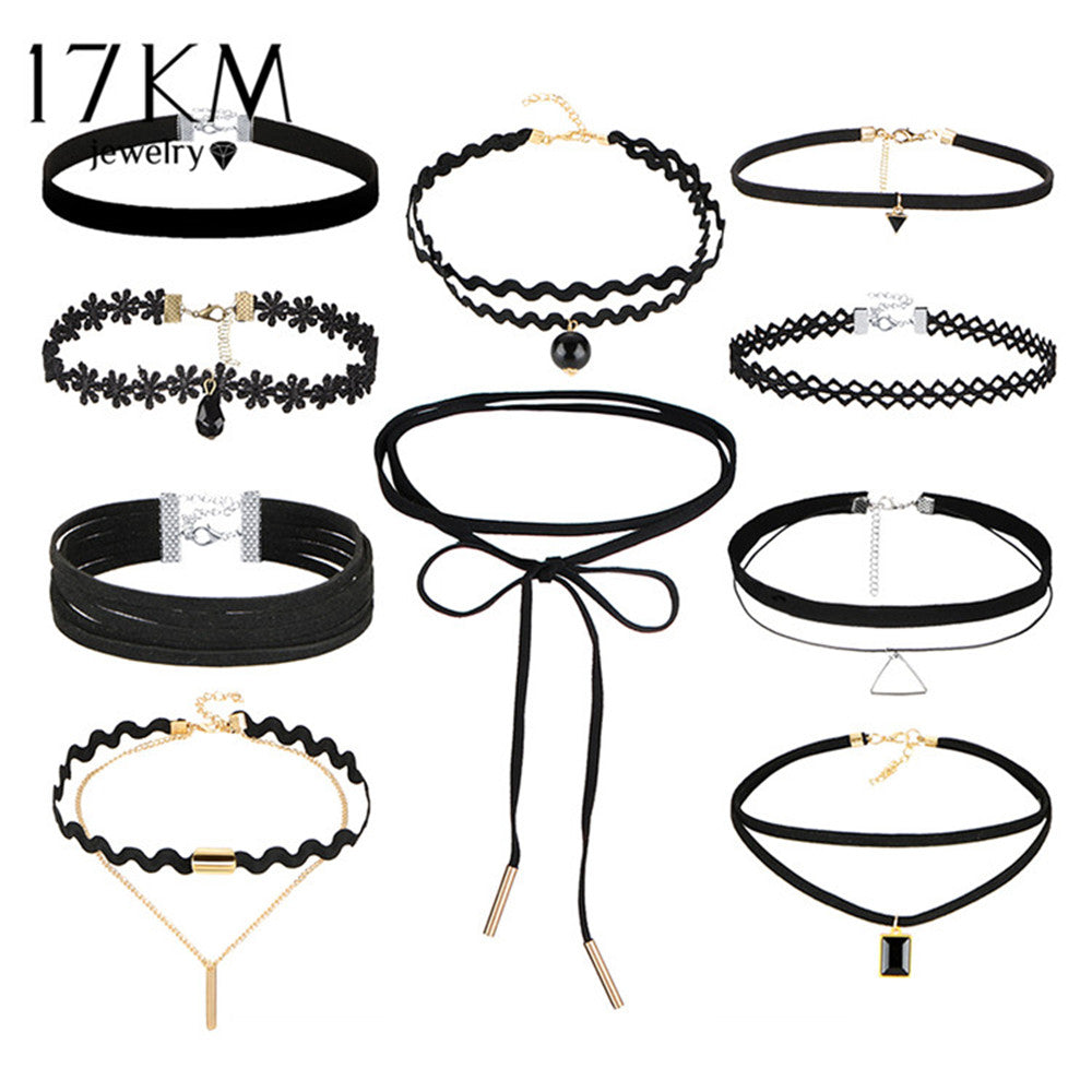 17KM 10 PCS/Set New Gothic Tattoo Leather Choker Necklaces Set for Women Hollow Out Black Lace Necklace Jewelry Collier Chain